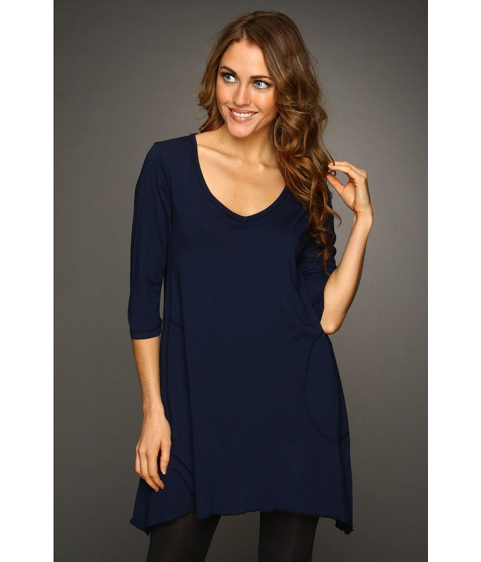 Allen Allen - 3/4 Sleeve V-Angled Tunic (Lapis) Women's Short Sleeve Pullover