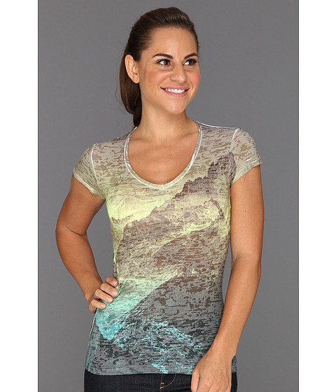 The North Face - Tadasana Burn-Out Top (Graphite Grey/Rave Green) Women's Short Sleeve Pullover
