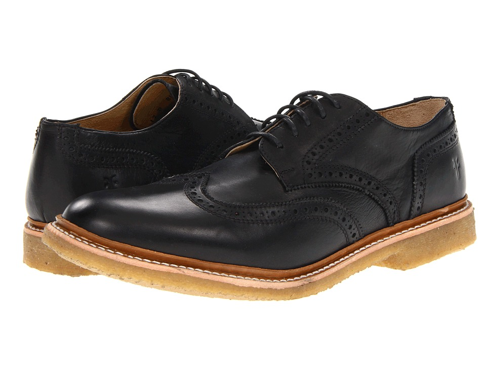 Frye - James Crepe Wingtip (Black Soft Vintage Leather) Men's Lace Up Wing Tip Shoes