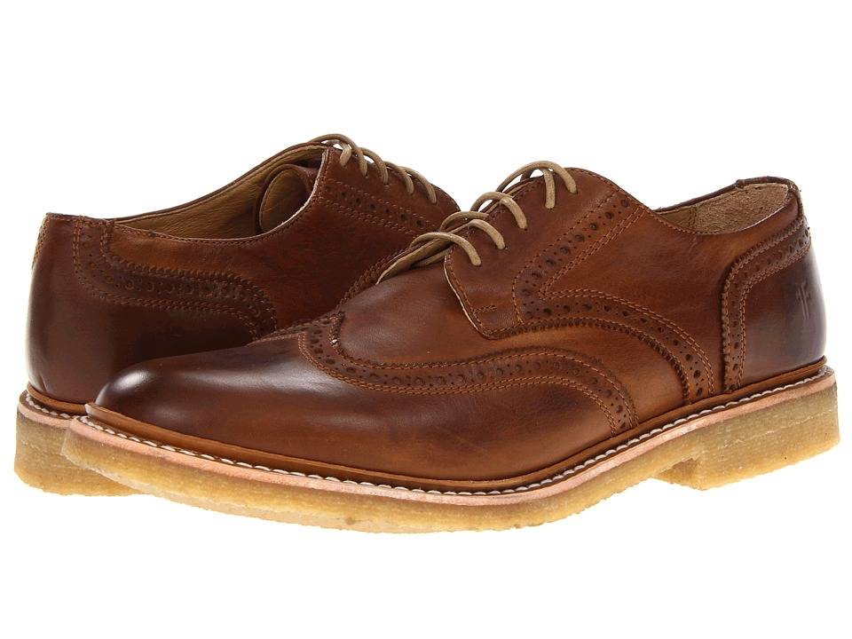 Frye - James Crepe Wingtip (Cognac Soft Vintage Leather) Men's Lace Up Wing Tip Shoes