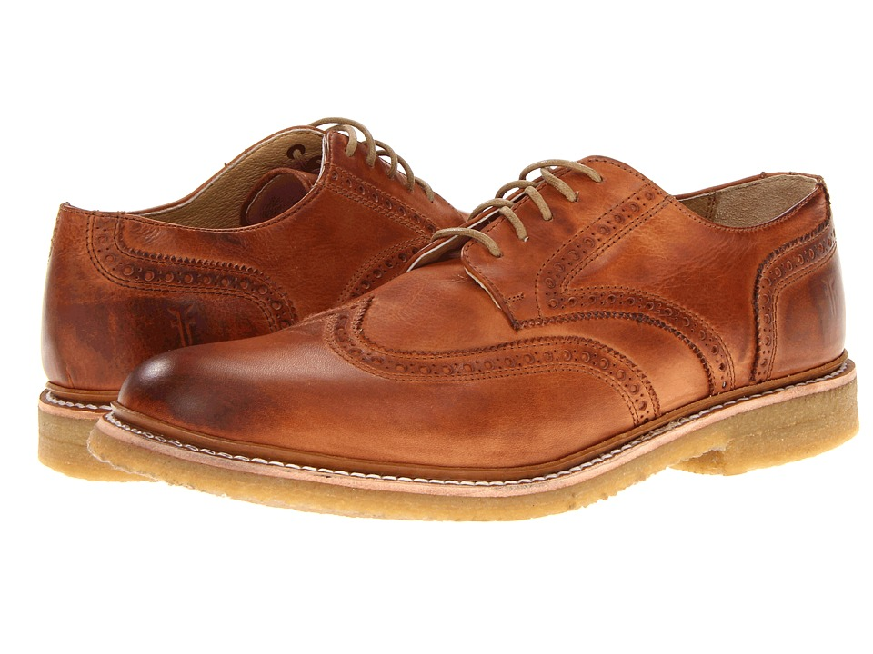 Frye - James Crepe Wingtip (Whiskey Soft Vintage Leather) Men's Lace Up Wing Tip Shoes