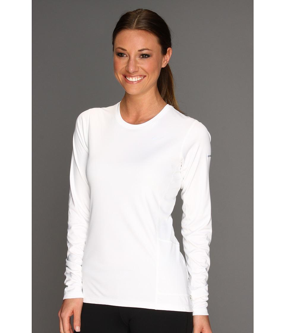 Nike - Miler L/S Top (White/Reflective Silver) Women's Workout