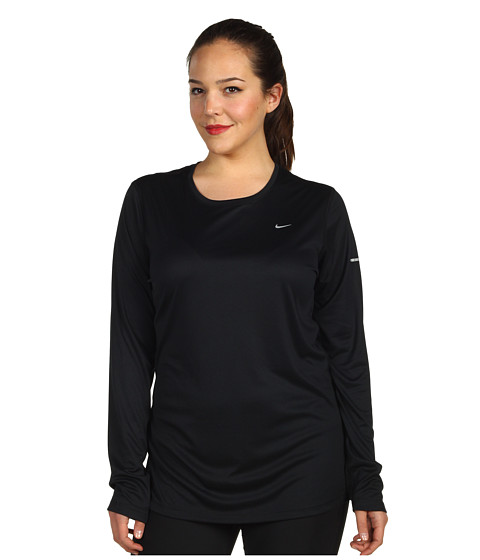 Nike - Extended Size L/S Miler (Black/Metallic Red Bronze) Women's Workout