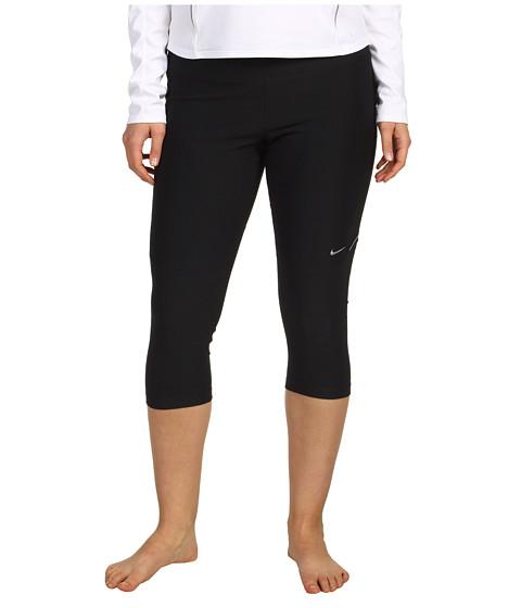 Nike - Extended Size Filament Capri (Black/Black/Black/Metallic Silver) Women's Capri