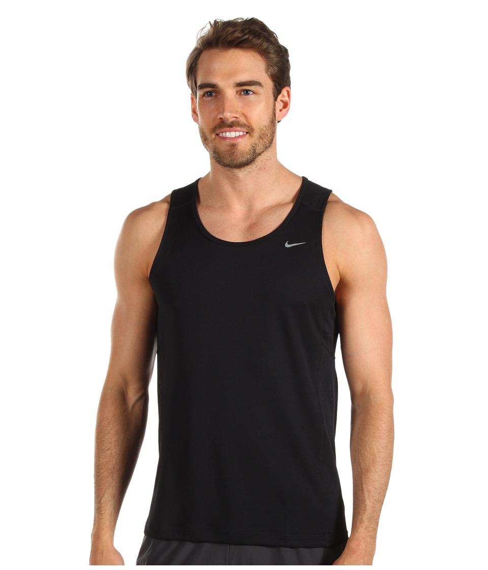 Nike - Miler Singlet (Team) (Black/Black/Reflective Silver) Men's Sleeveless