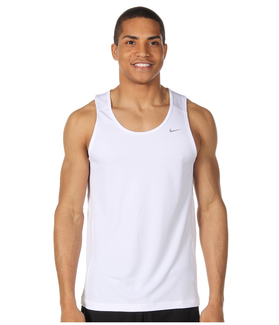 Nike - Miler Singlet (Team) (White/White/Reflective Silver) Men's Sleeveless