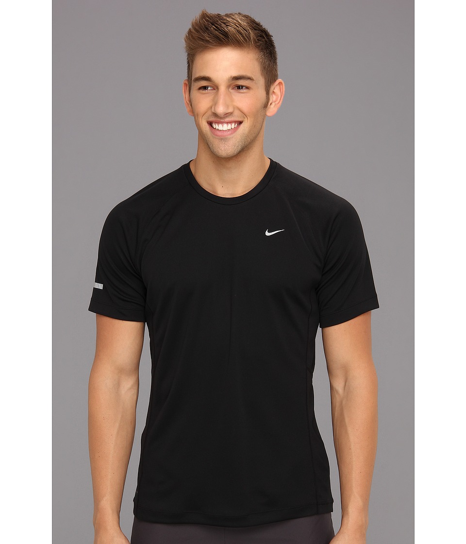 Nike - Miler S/S UV Shirt (Team) (Black/Black/Reflective Silver) Men's Short Sleeve Pullover