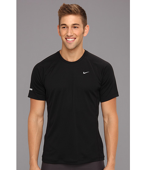 Nike - Miler S/S UV Shirt (Team) (Black/Black/Reflective Silver) Men's Short Sleeve Pullover