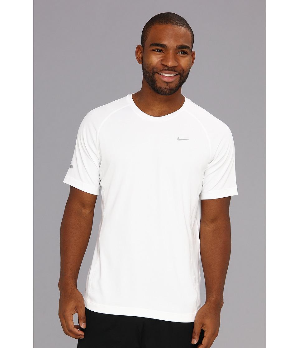 Nike - Miler S/S UV Shirt (Team) (White/White/Reflective Silver) Men's Short Sleeve Pullover
