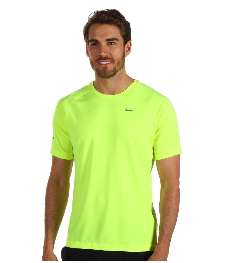 Nike - Miler S/S UV Shirt (Team) (Volt/Volt/Reflective Silver) Men's Short Sleeve Pullover