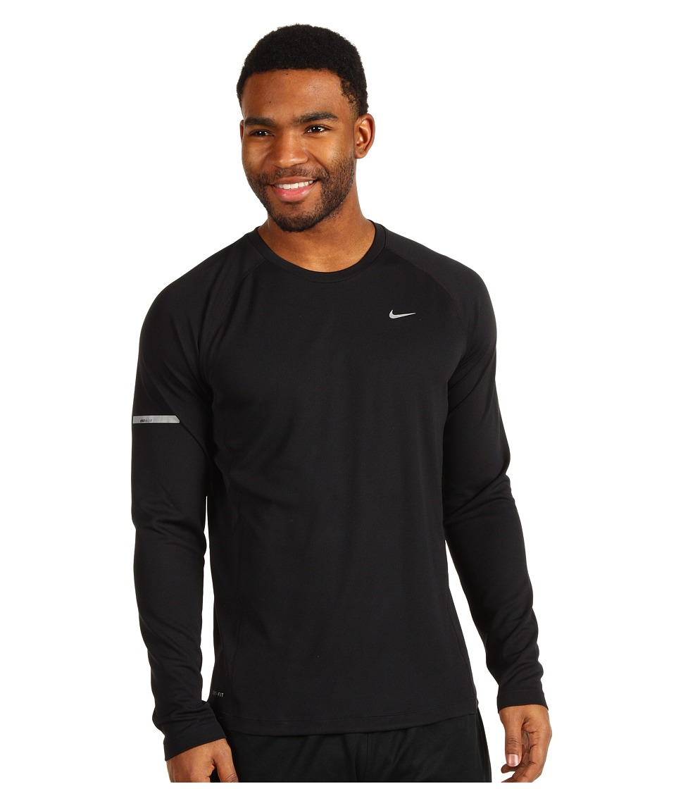 Nike - Miler L/S UV Shirt (Black/Black/Reflective Silver) Men's Long Sleeve Pullover