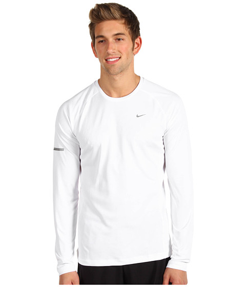 Nike - Miler L/S UV Shirt (White/White/Reflective Silver) Men