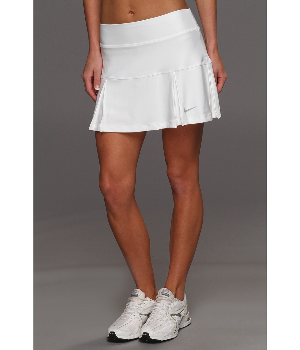 Nike - Four Pleated Knit Skort (White/Matte Silver) Women's Skort
