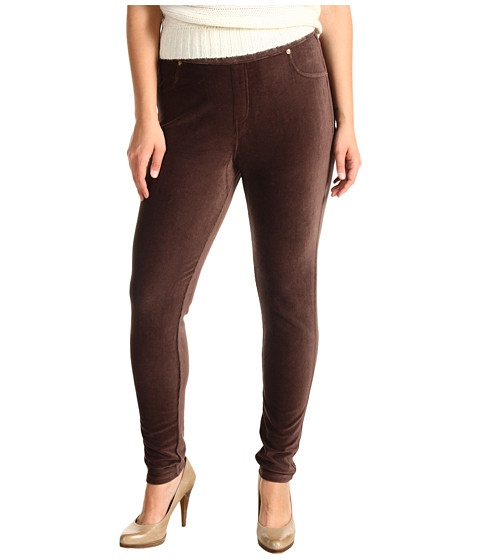 MICHAEL Michael Kors - Plus Size Stretch Corduroy Leggings (Chocolate) Women's Casual Pants