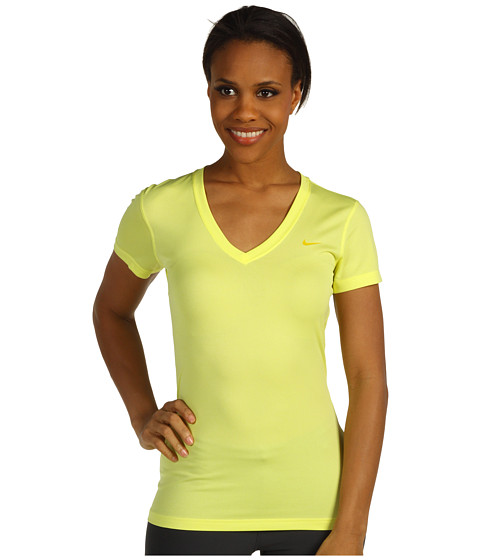 Nike - Regular Legend Short-Sleeve V-Neck (Electric Yellow/Vivid Sulfur) Women's Short Sleeve Pullover