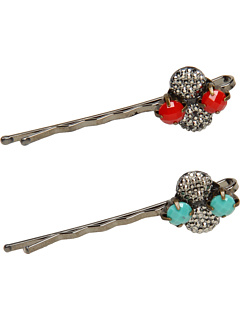 SALE! $16.99 - Save $11 on Jane Tran Crystal Bobby Pin Set (Turquoise Coral) Accessories - 39.32% OFF $28.00