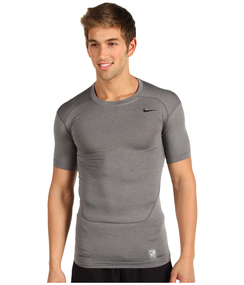Nike - Pro Core Compression S/S Top 2.0 (Carbon Heather/Black) Men's Short Sleeve Pullover