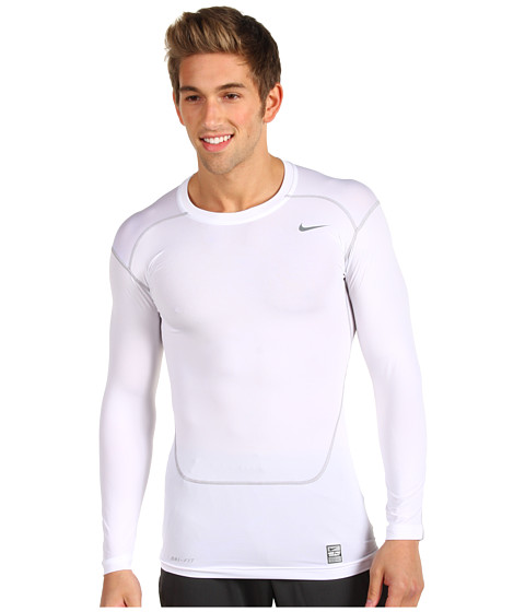 Nike - Pro Core Compression L/S Top 2.0 (White/Cool Grey) Men's Long Sleeve Pullover