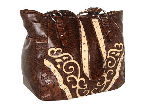 M&F Western - Scroll Small Tote (Brown) Tote Handbags