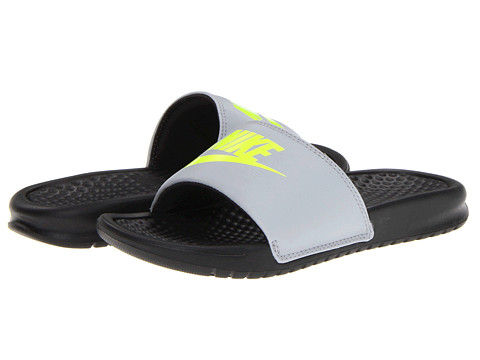 Nike Kids - Benassi JDI (Little Kid/Big Kid) (Stadium Grey/Black/Volt) Kids Shoes