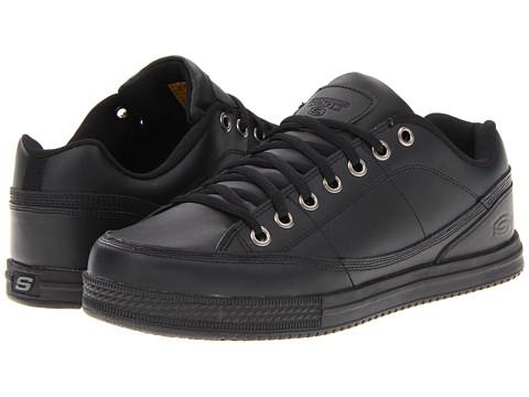 SKECHERS Work - Lace-Up Slip Resistant Sneaker (Black Action Leather) Men