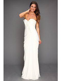 SALE! $314.99 - Save $312 on Badgley Mischka Ruffle Strapless Gown (Ivory) Apparel - 49.76% OFF $627.00