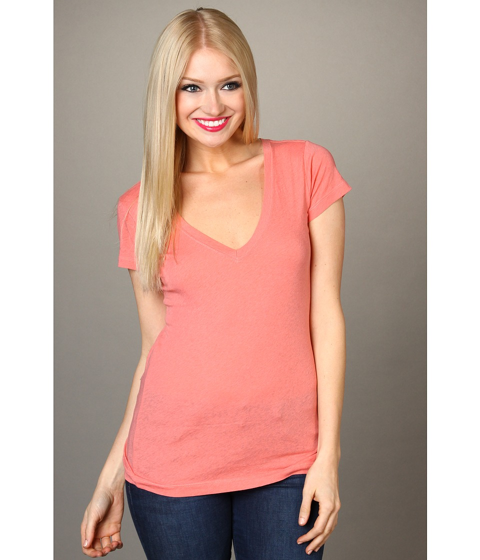 Hurley Solid Perfect V Neck Heathered Tee Juniors Womens Clothing (Orange)