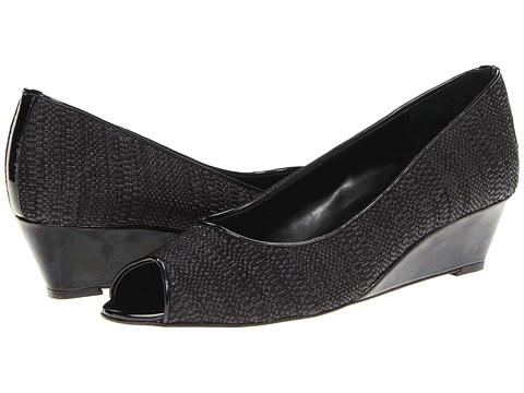Vaneli Bernat (Black Art Straw w/Matching Excellent Patent) Women's Toe Open Shoes