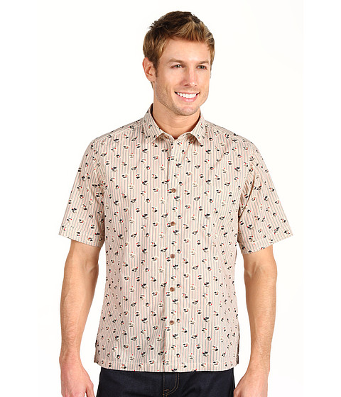 Reyn Spooner - Stripe Oasis Placket Front S/S Cuffed Button Up (Natural) Men's Short Sleeve Button Up
