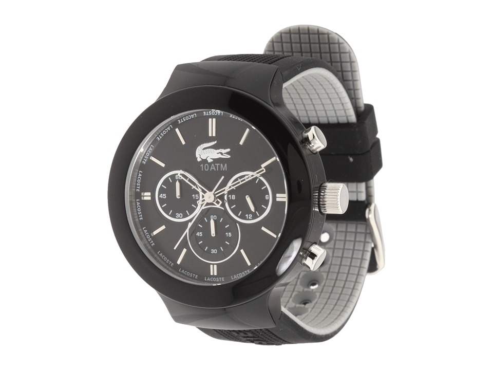 Lacoste - Borneo Chronograph Silicone Watch 2010651 (Black) Analog Watches