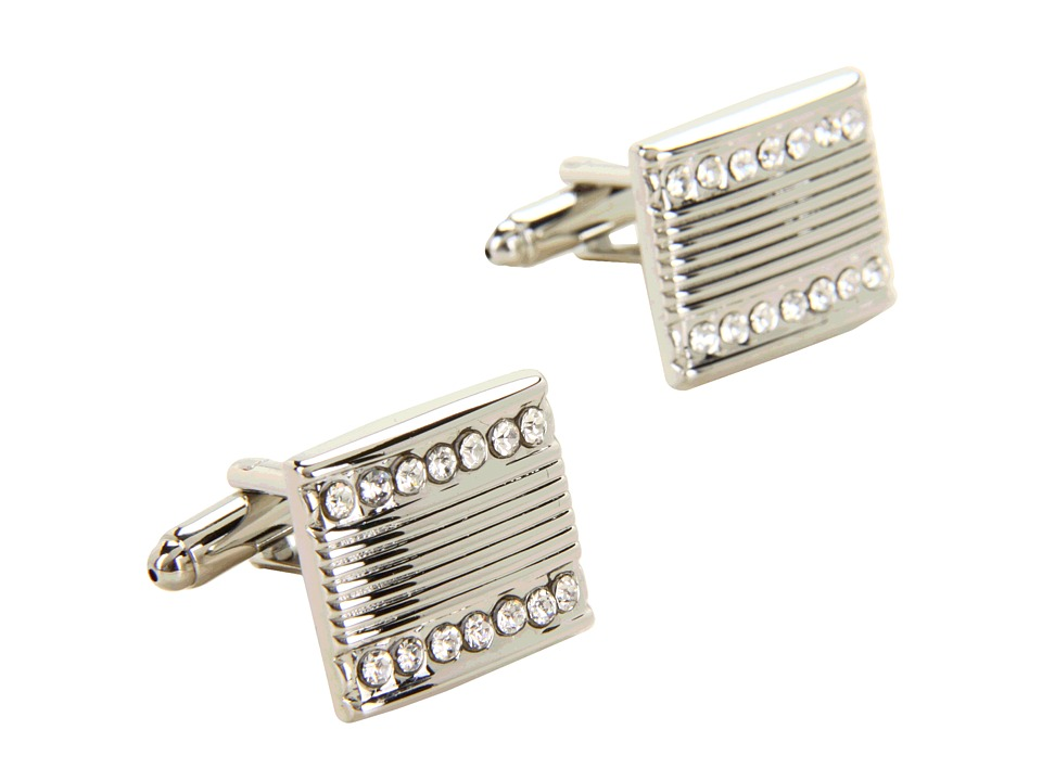 Stacy Adams - Cuff Link 13434 (Silver w/Crystal) Cuff Links
