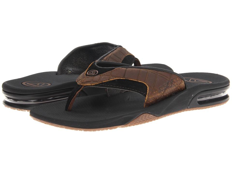 Reef Fanning Leather (Brown/Plaid) Men