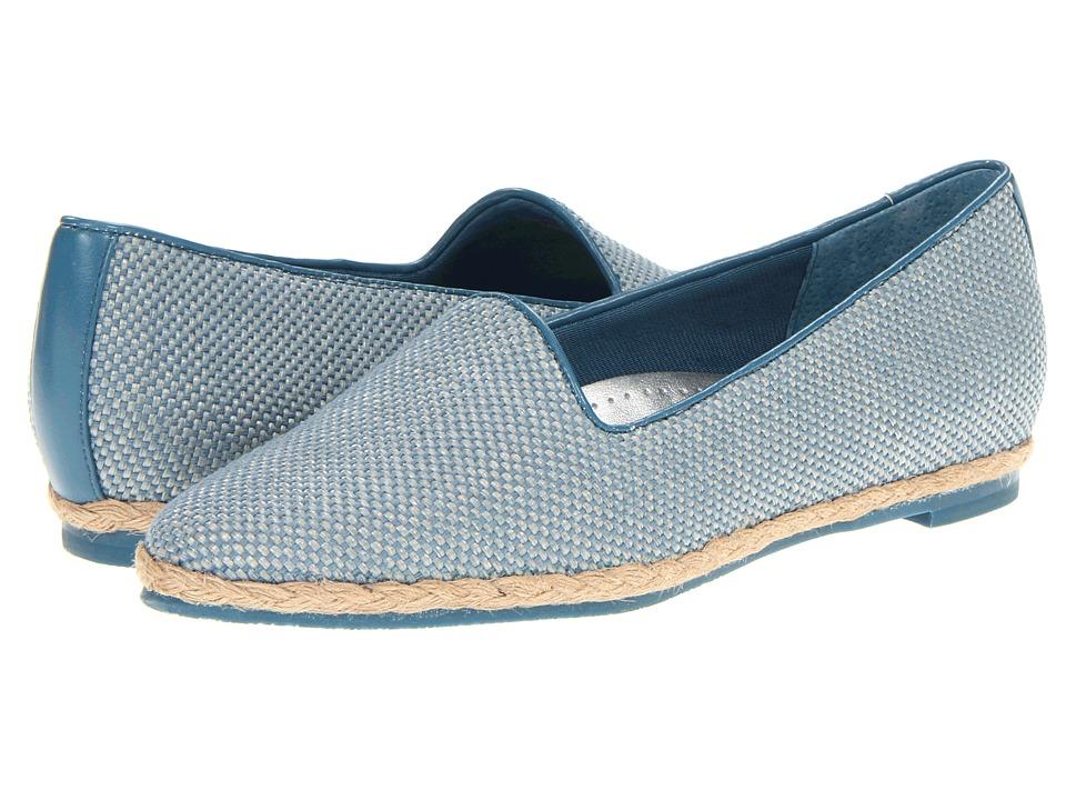 Trotters - Lizpadrille (Blue Linen) Women's Slip on Shoes