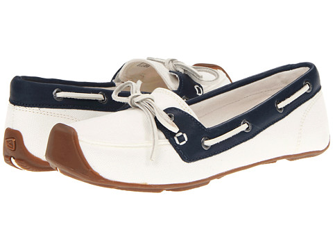 Keen Catalina Canvas Boat Shoe (Whisper White/Ensign Blue) Women's Slip on  Shoes