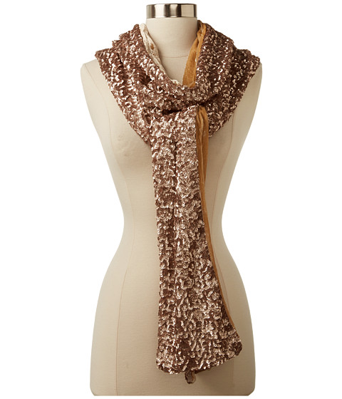 Rachel Zoe - Sequin Signature Long Scarf (Pale Gold) Scarves