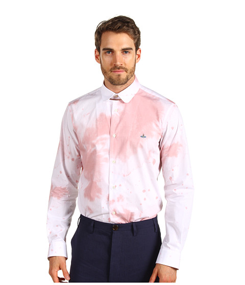 Vivienne Westwood MAN - Wine Stain Poplin Shirt (White) Men's Long Sleeve Button Up
