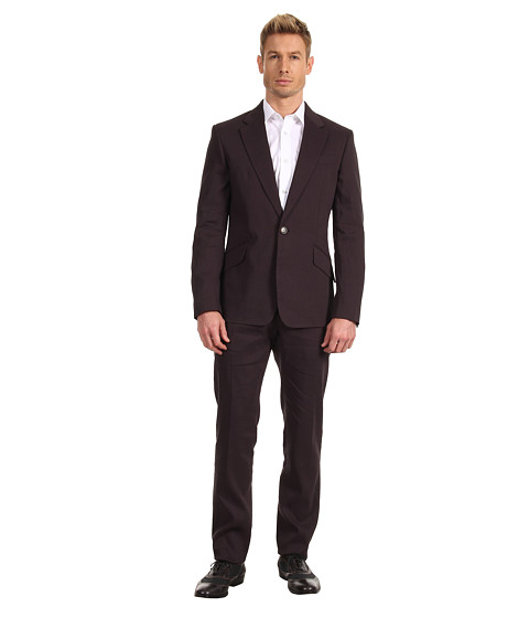Vivienne Westwood MAN - Excursion Stretch Linen Slim Fit Suit (Black) Men's Suits Sets