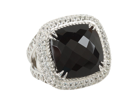 DeLatori - Square Black Onyx and Crystal Ring (Sterling Silver/Black Onyx) Ring