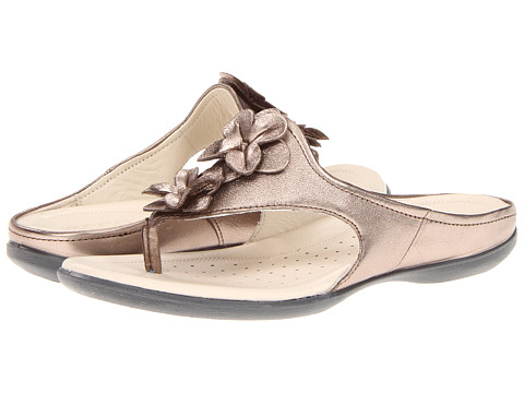 ECCO - Flash Flower Thong (Warm Grey Metallic) Women's Shoes