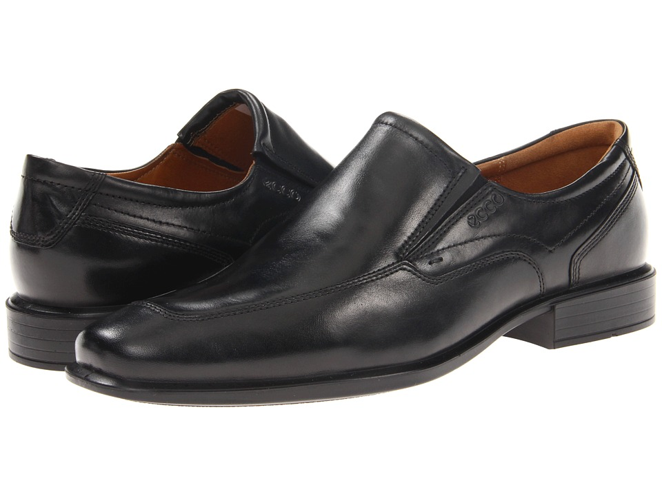 ECCO - Cairo Apron Toe Slip On (Black Oxford Leather) Men's Slip on Shoes