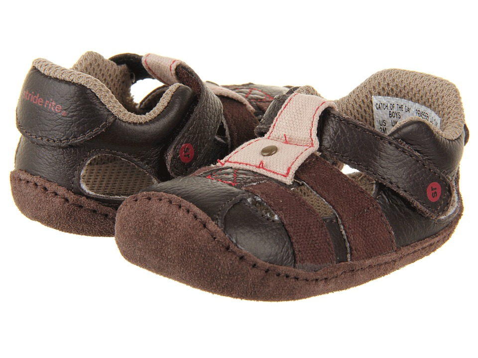 Stride Rite - Crawl Catch of the Day (Infant/Toddler) (Espresso/Red) Boy's Shoes