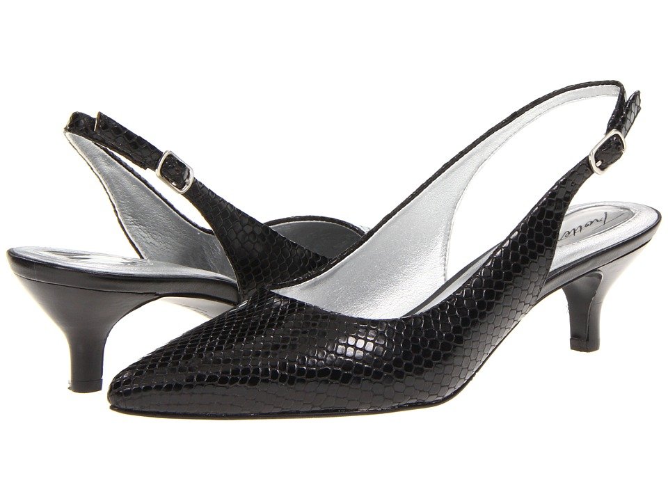 Trotters - Prima (Black Snake) Women's 1-2 inch heel Shoes