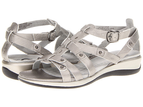 SoftWalk - Torino (Soft Pewter Metallic Soft Tumbled Leather) Women's Sandals