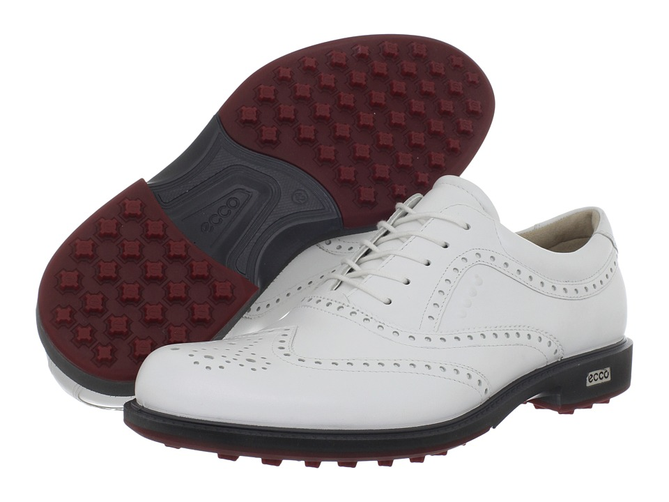 ECCO Golf - Tour Hybrid Wingtip (White/Brick) Men's Golf Shoes