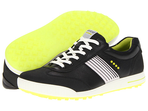 ECCO Golf - Golf Street Sport (Black/Black/Lime Punch) Men's Golf Shoes