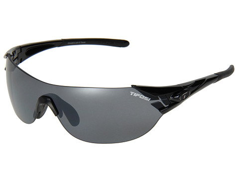 Tifosi Optics - Podium S Interchangeable (Gloss Black/Smoke/AC Red/Clear Lens) Athletic Performance Sport Sunglasses