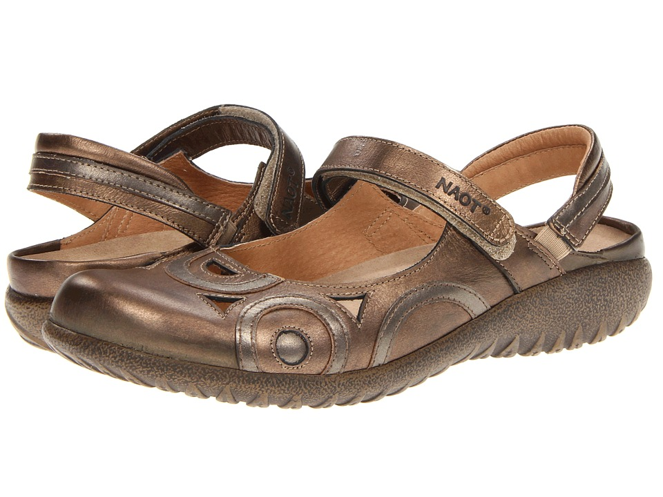 Naot Footwear - Rongo (Brass Leather/Pewter Leather) Women's Hook and Loop Shoes
