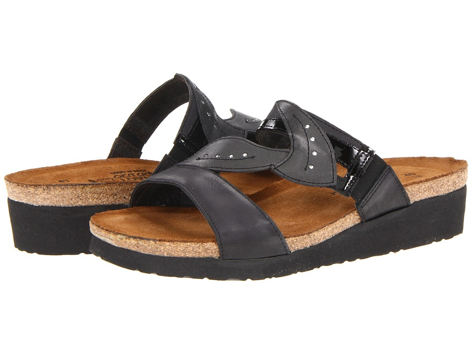 Naot Footwear - Kimberly (Brushed Black Leather/Black Patent Leather/Metallic Road Leather) Women's Sandals