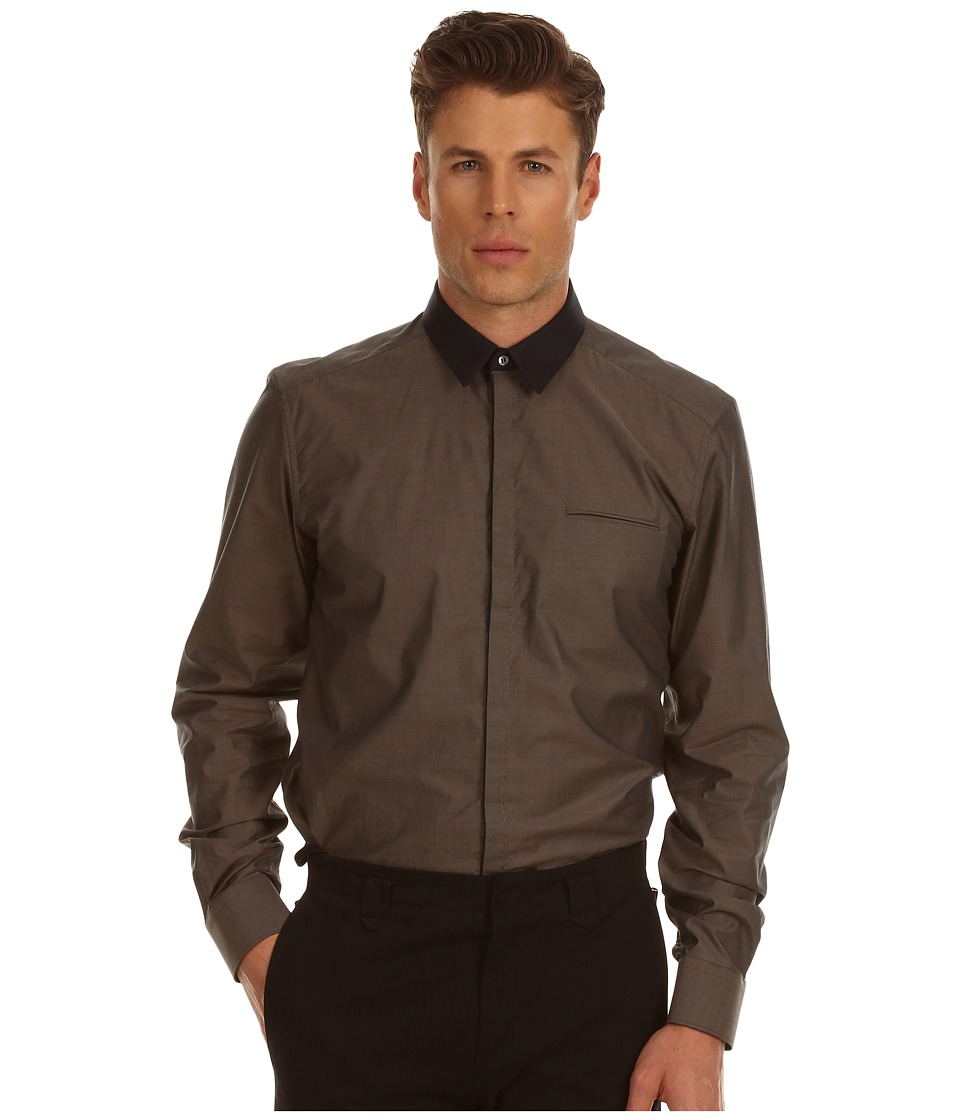 CoSTUME NATIONAL - Slim Fit Shirt with 60s Collar (Dark Beige) Men's Long Sleeve Button Up