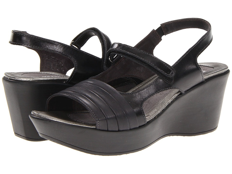 Naot Footwear - Gallus (Black Madras Leather/Brushed Black Leather) Women's Sandals
